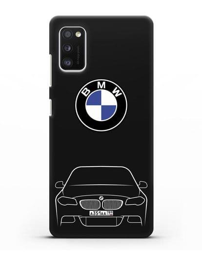 Чехол BMW 5 с автомобильным номером силикон черный для Samsung Galaxy A41 [SM-A415F]
