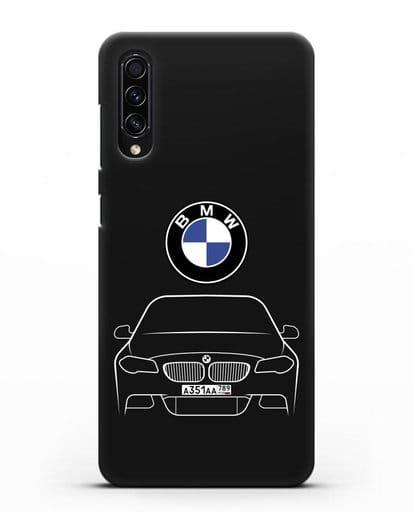 Чехол BMW 5 с автомобильным номером силикон черный для Samsung Galaxy A50s [SM-F507FN]