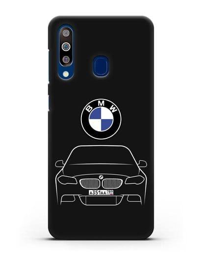 Чехол BMW 5 с автомобильным номером силикон черный для Samsung Galaxy A60 [SM-A606F]