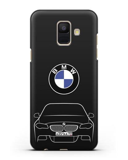 Чехол BMW 5 с автомобильным номером силикон черный для Samsung Galaxy A6 2018 [SM-A600F]