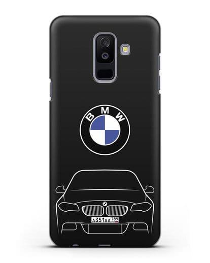 Чехол BMW 5 с автомобильным номером силикон черный для Samsung Galaxy A6 Plus 2018 [SM-A605F]