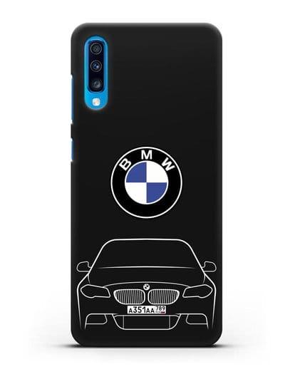 Чехол BMW 5 с автомобильным номером силикон черный для Samsung Galaxy A70 [SM-A705F]