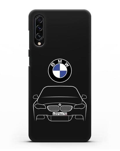 Чехол BMW 5 с автомобильным номером силикон черный для Samsung Galaxy A70s [SM-A707F]