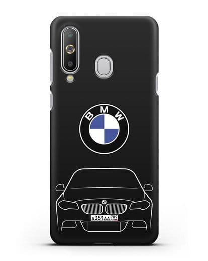 Чехол BMW 5 с автомобильным номером силикон черный для Samsung Galaxy A8s [SM-G8870]