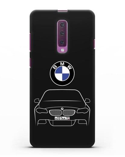 Чехол BMW 5 с автомобильным номером силикон черный для Samsung Galaxy A90 [SM-A908N]