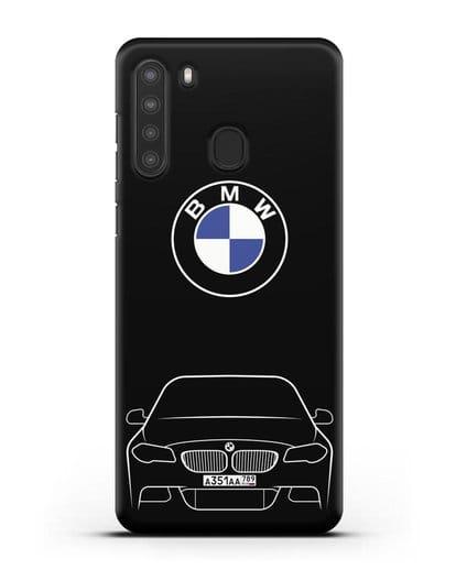 Чехол BMW 5 с автомобильным номером силикон черный для Samsung Galaxy A21 [SM-A215]