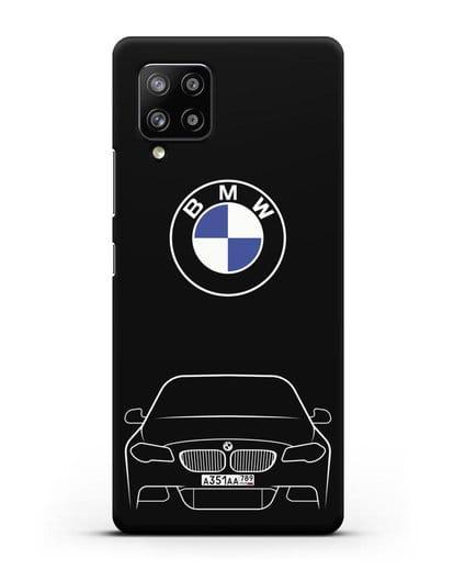 Чехол BMW 5 с автомобильным номером силикон черный для Samsung Galaxy A42 [SM-A426B]