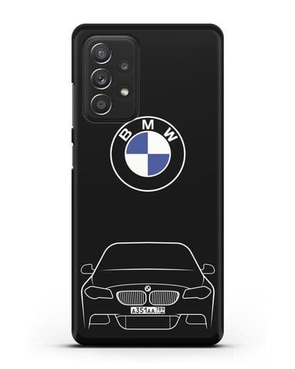 Чехол BMW 5 с автомобильным номером силикон черный для Samsung Galaxy A52 5G [SM-A5260]