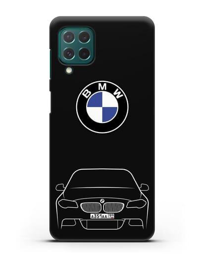 Чехол BMW 5 с автомобильным номером силикон черный для Samsung Galaxy M62 [SM-M625F]