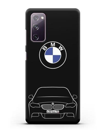 Чехол BMW 5 с автомобильным номером силикон черный для Samsung Galaxy S20 FE [SM-G780F]