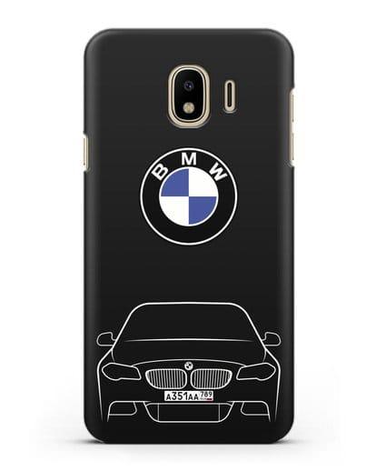 Чехол BMW 5 с автомобильным номером силикон черный для Samsung Galaxy J4 2018 [SM-J400F]