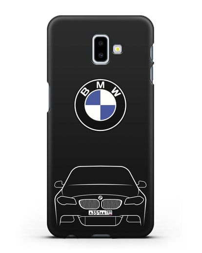Чехол BMW 5 с автомобильным номером силикон черный для Samsung Galaxy J6 Plus [SM-J610F]