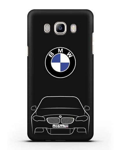 Чехол BMW 5 с автомобильным номером силикон черный для Samsung Galaxy J7 2016 [SM-J710F]