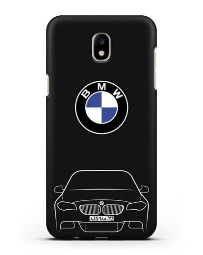 Чехол BMW 5 с автомобильным номером силикон черный для Samsung Galaxy J7 2017 [SM-J720F]