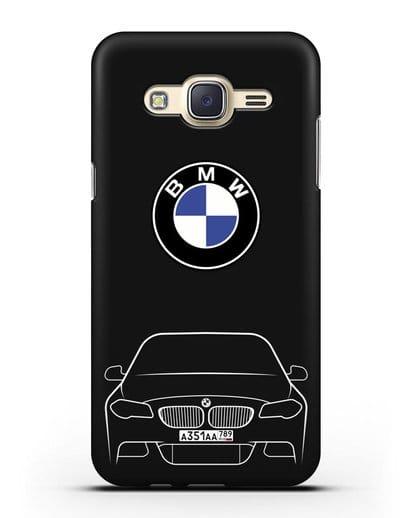Чехол BMW 5 с автомобильным номером силикон черный для Samsung Galaxy J7 Neo [SM-J701F]