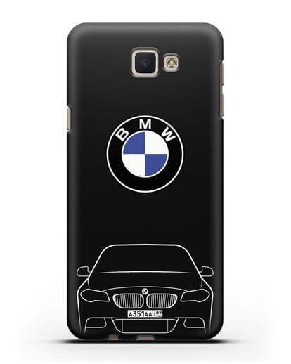 Чехол BMW 5 с автомобильным номером силикон черный для Samsung Galaxy J7 Prime [SM-G610F]