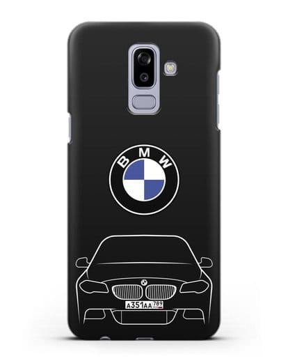 Чехол BMW 5 с автомобильным номером силикон черный для Samsung Galaxy J8 2018 [SM-J810F]