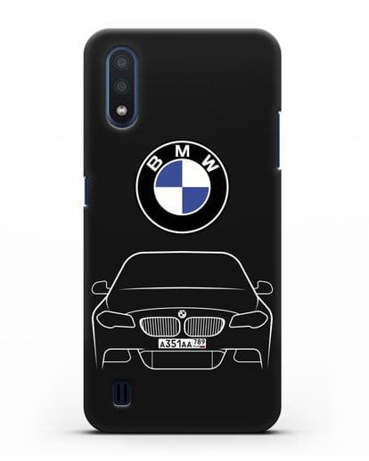 Чехол BMW 5 с автомобильным номером силикон черный для Samsung Galaxy M01 [SM-M015F]