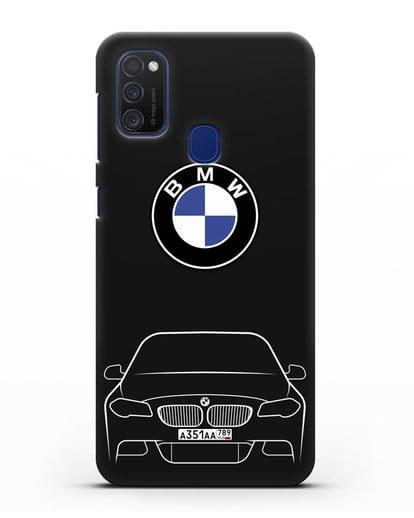 Чехол BMW 5 с автомобильным номером силикон черный для Samsung Galaxy M21 [SM-M215F]