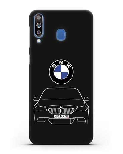 Чехол BMW 5 с автомобильным номером силикон черный для Samsung Galaxy M30 [SM-M305F]