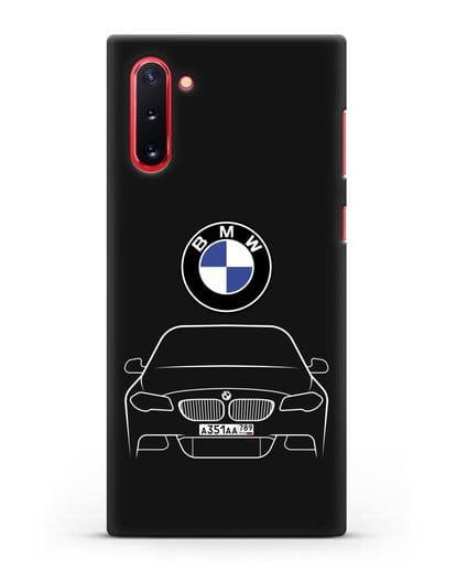 Чехол BMW 5 с автомобильным номером силикон черный для Samsung Galaxy Note 10 [N970F]