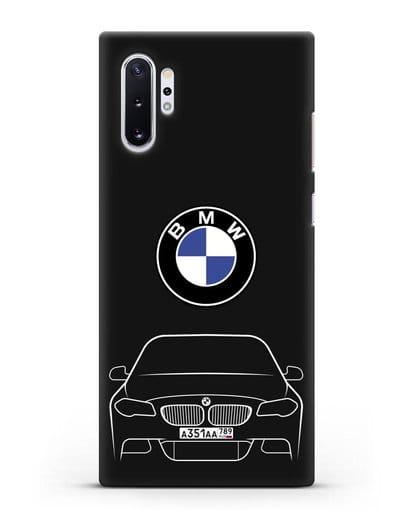 Чехол BMW 5 с автомобильным номером силикон черный для Samsung Galaxy Note 10 Plus [N975F]