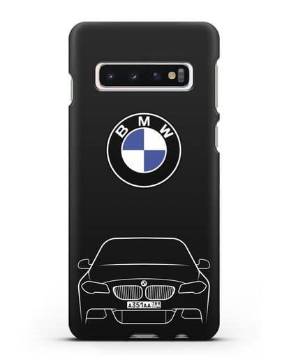 Чехол BMW 5 с автомобильным номером силикон черный для Samsung Galaxy S10 Plus [SM-G975F]