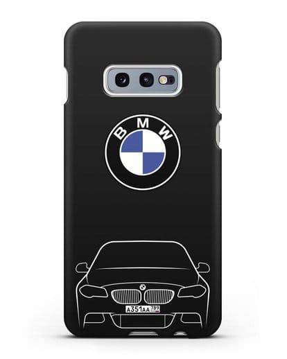 Чехол BMW 5 с автомобильным номером силикон черный для Samsung Galaxy S10e [SM-G970F]