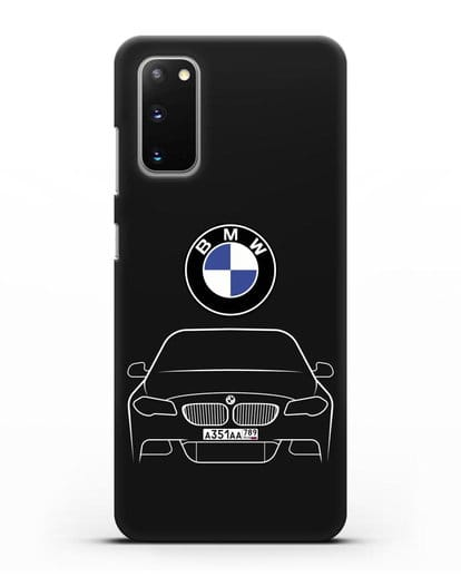Чехол BMW 5 с автомобильным номером силикон черный для Samsung Galaxy S20 [SM-G980F]