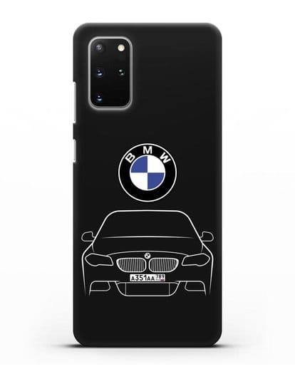 Чехол BMW 5 с автомобильным номером силикон черный для Samsung Galaxy S20 Plus [SM-G985F]