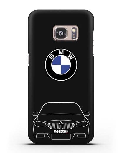 Чехол BMW 5 с автомобильным номером силикон черный для Samsung Galaxy S7 Edge [SM-G935F]