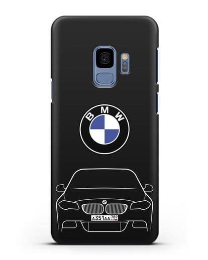 Чехол BMW 5 с автомобильным номером силикон черный для Samsung Galaxy S9 [SM-G960F]