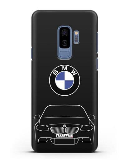 Чехол BMW 5 с автомобильным номером силикон черный для Samsung Galaxy S9 Plus [SM-G965F]