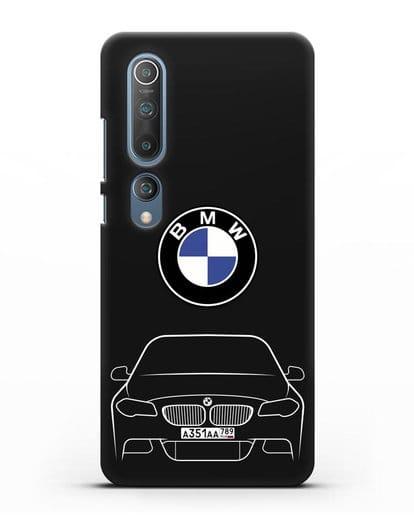 Чехол BMW 5 с автомобильным номером силикон черный для Xiaomi Mi 10