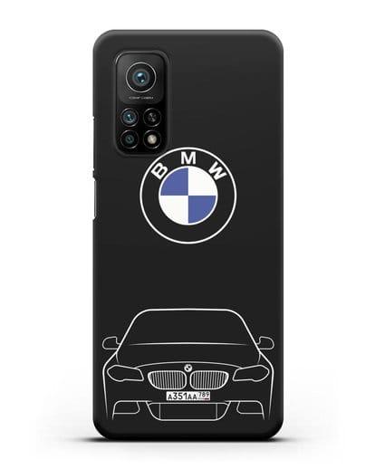 Чехол BMW 5 с автомобильным номером силикон черный для Xiaomi Mi 10t Pro