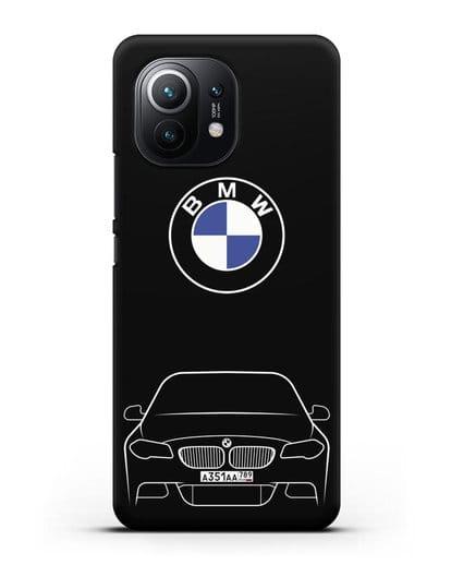Чехол BMW 5 с автомобильным номером силикон черный для Xiaomi Mi 11