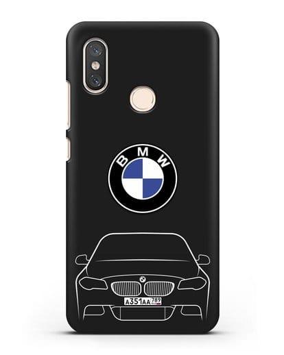 Чехол BMW 5 с автомобильным номером силикон черный для Xiaomi Mi 8