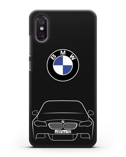 Чехол BMW 5 с автомобильным номером силикон черный для Xiaomi Mi 8 Pro