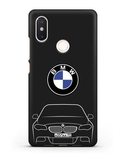Чехол BMW 5 с автомобильным номером силикон черный для Xiaomi Mi 8 SE