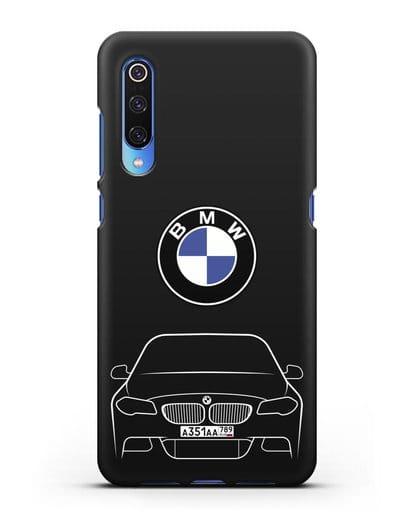 Чехол BMW 5 с автомобильным номером силикон черный для Xiaomi Mi 9