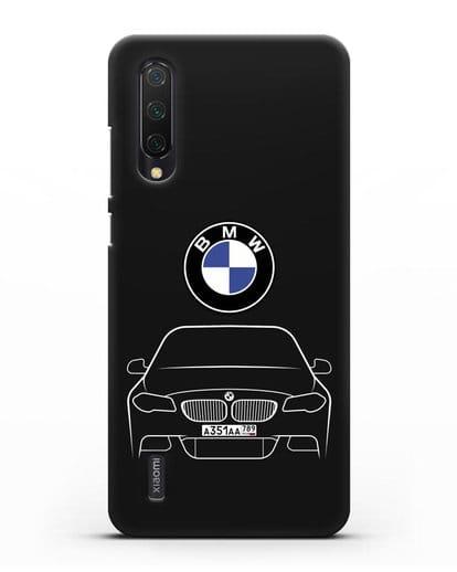 Чехол BMW 5 с автомобильным номером силикон черный для Xiaomi Mi 9 Lite