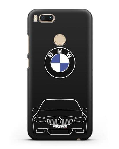 Чехол BMW 5 с автомобильным номером силикон черный для Xiaomi Mi A1