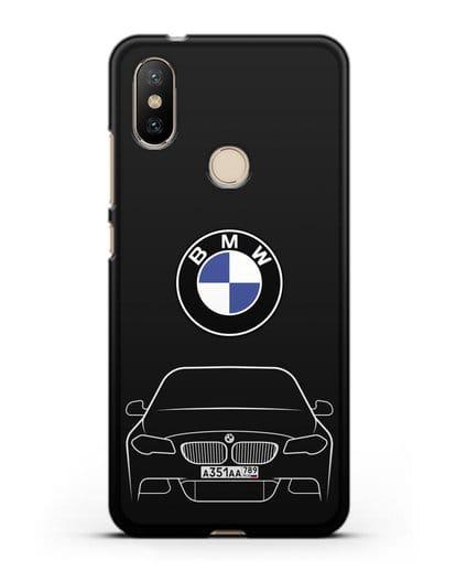 Чехол BMW 5 с автомобильным номером силикон черный для Xiaomi Mi A2