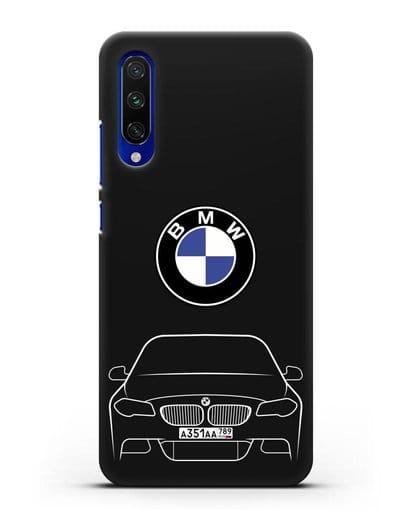 Чехол BMW 5 с автомобильным номером силикон черный для Xiaomi Mi A3
