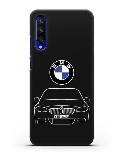 Чехол BMW 5 с автомобильным номером силикон черный для Xiaomi Mi CC9 E