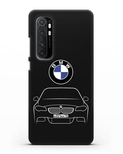 Чехол BMW 5 с автомобильным номером силикон черный для Xiaomi Mi Note 10 lite