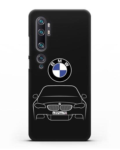 Чехол BMW 5 с автомобильным номером силикон черный для Xiaomi Mi Note 10 Pro