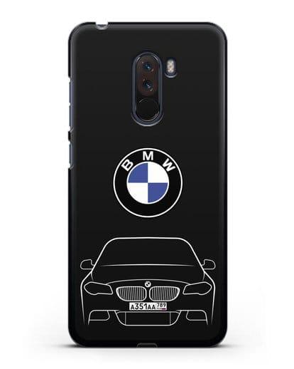Чехол BMW 5 с автомобильным номером силикон черный для Xiaomi Pocophone F1