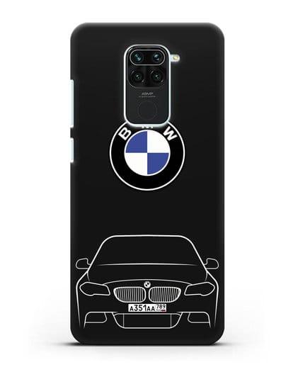 Чехол BMW 5 с автомобильным номером силикон черный для Xiaomi Redmi 10X