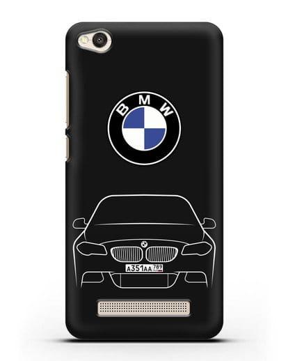 Чехол BMW 5 с автомобильным номером силикон черный для Xiaomi Redmi 4A